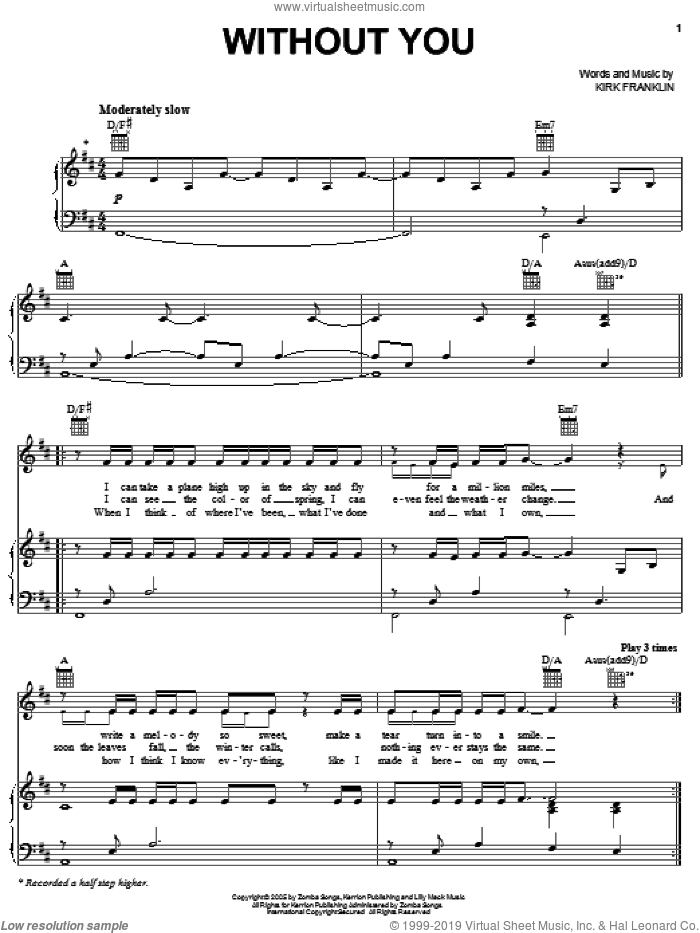 Without You sheet music for voice, piano or guitar by Kirk Franklin, intermediate. Score Image Preview.