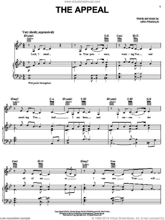 The Appeal sheet music for voice, piano or guitar by Kirk Franklin. Score Image Preview.
