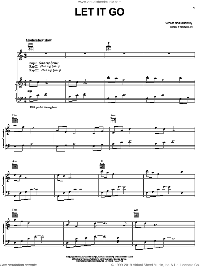 Let It Go sheet music for voice, piano or guitar by Kirk Franklin, intermediate skill level