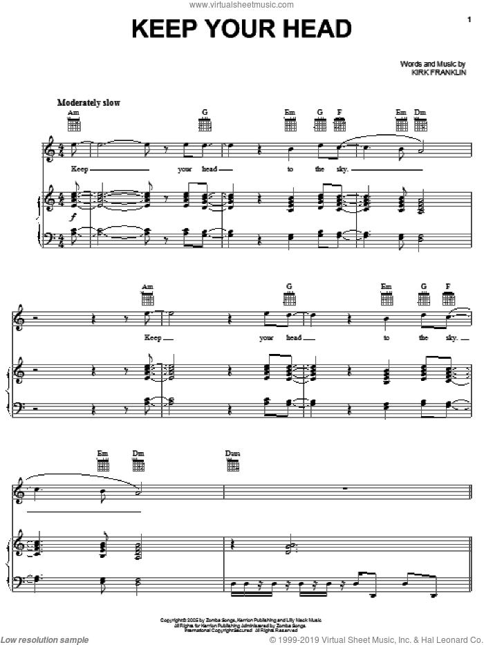 Keep Your Head sheet music for voice, piano or guitar by Kirk Franklin, intermediate skill level