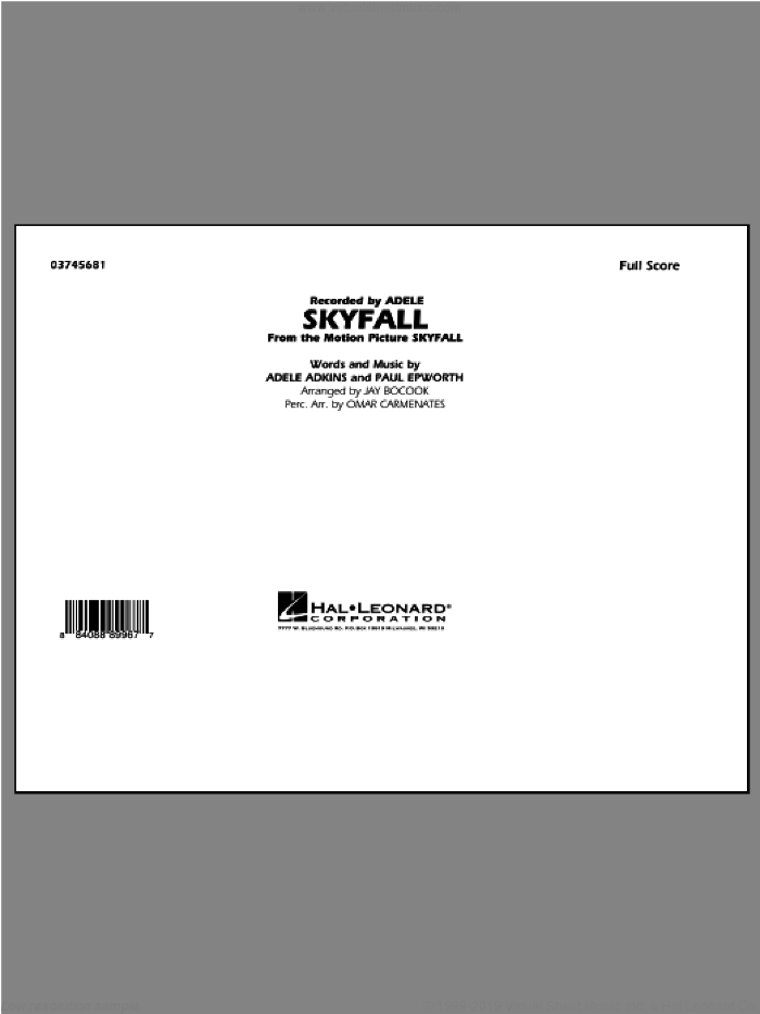 Skyfall (COMPLETE) sheet music for marching band by Adele and Jay Bocook, intermediate skill level