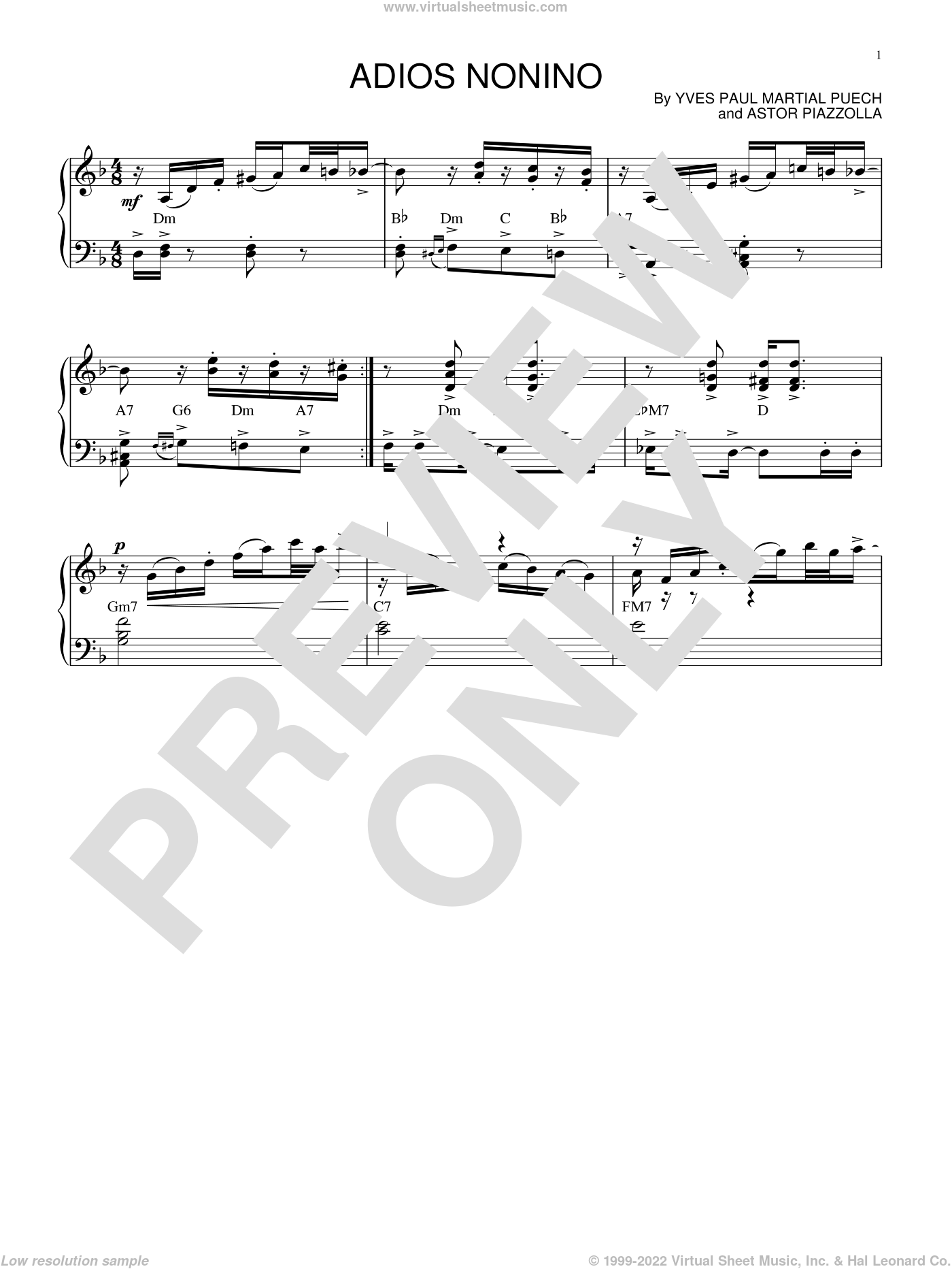 Adios nonino sheet music for piano solo by Astor Piazzolla and Yves Paul Martial Puech, intermediate skill level