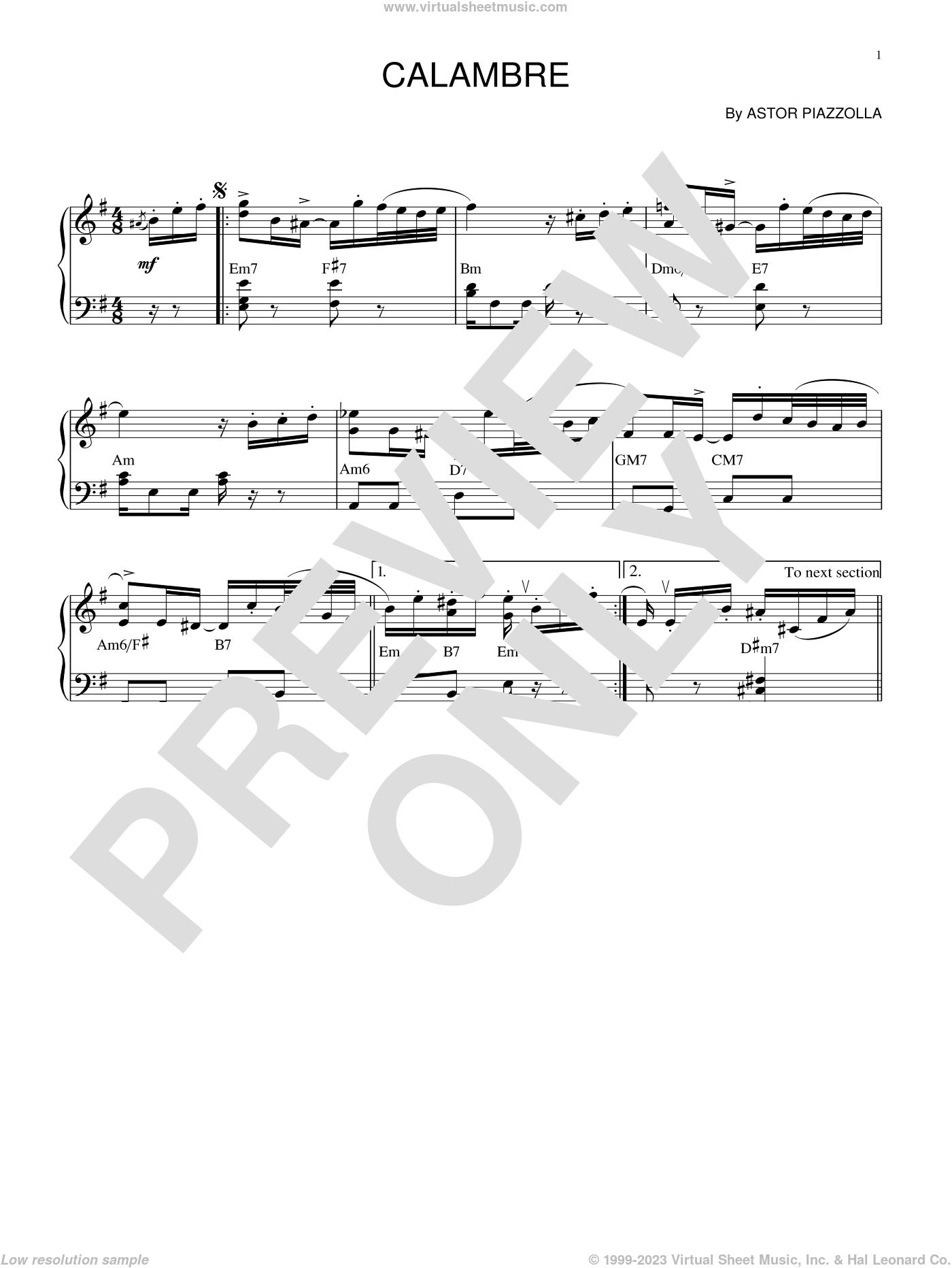 Calambre sheet music for piano solo by Astor Piazzolla, intermediate skill level