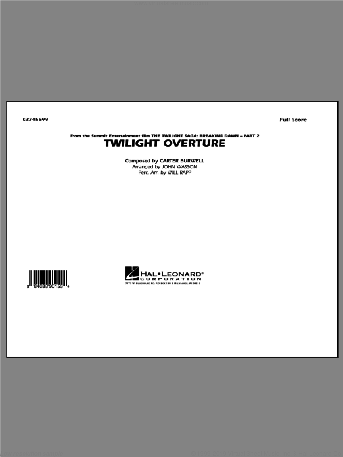 Twilight Overture (COMPLETE) sheet music for marching band by Carter Burwell and John Wasson. Score Image Preview.