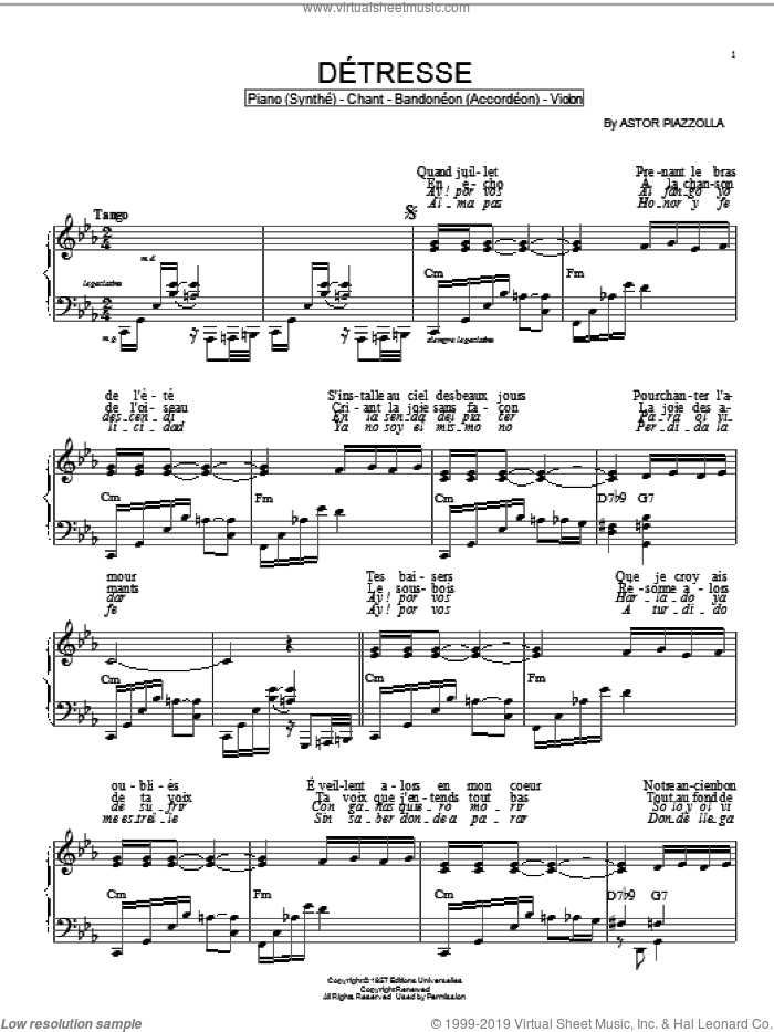Detresse sheet music for piano solo by Astor Piazzolla, intermediate skill level