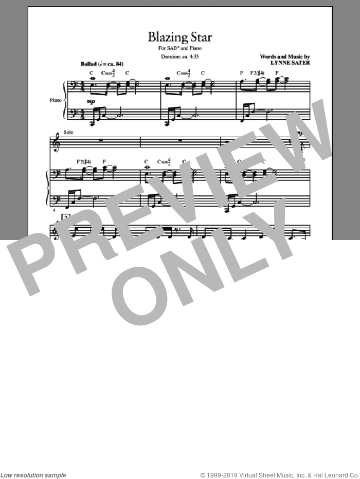 Blazing Star sheet music for choir and piano (SAB) by Lynne Sater