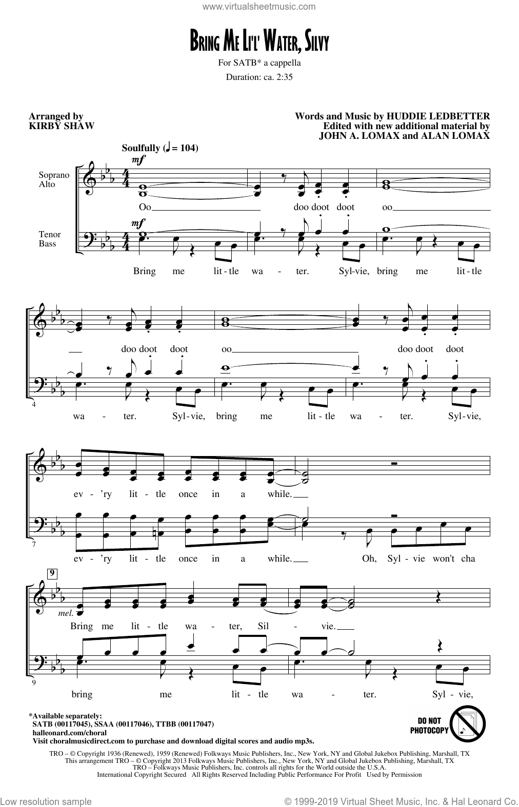 Bring Me Lil'l Water, Sylvie sheet music for choir and piano (SATB) by Kirby Shaw. Score Image Preview.