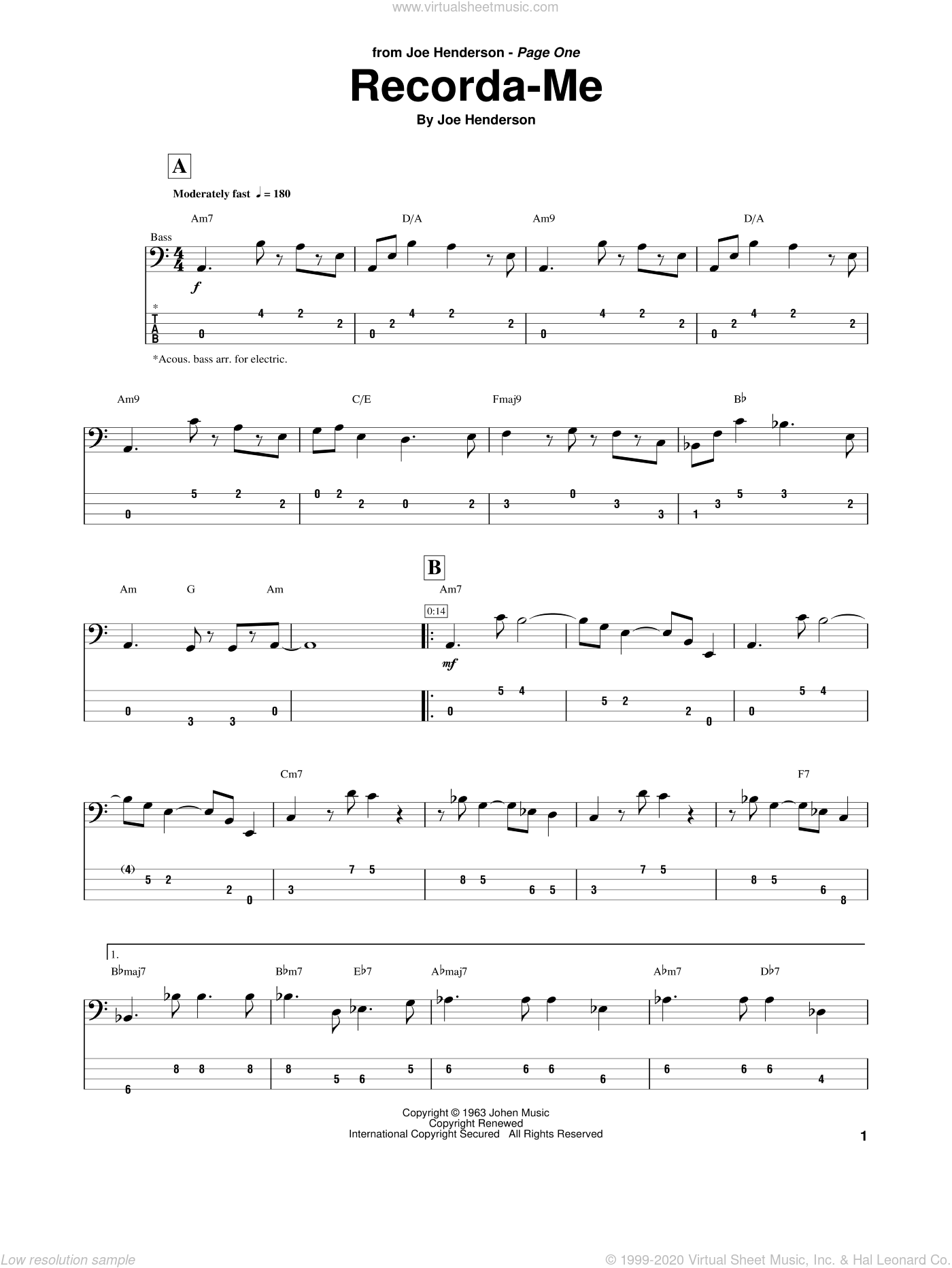 Recorda Me sheet music for bass (tablature) (bass guitar) by Joe Henderson, intermediate skill level