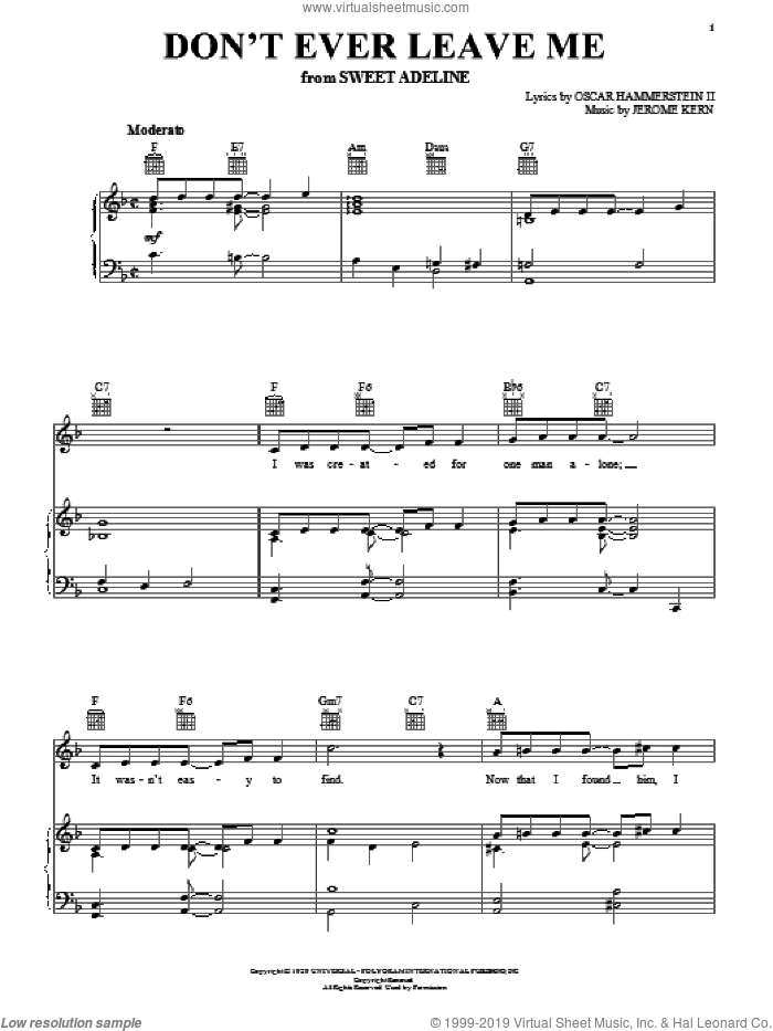 Don't Ever Leave Me sheet music for voice, piano or guitar by Oscar II Hammerstein and Jerome Kern. Score Image Preview.