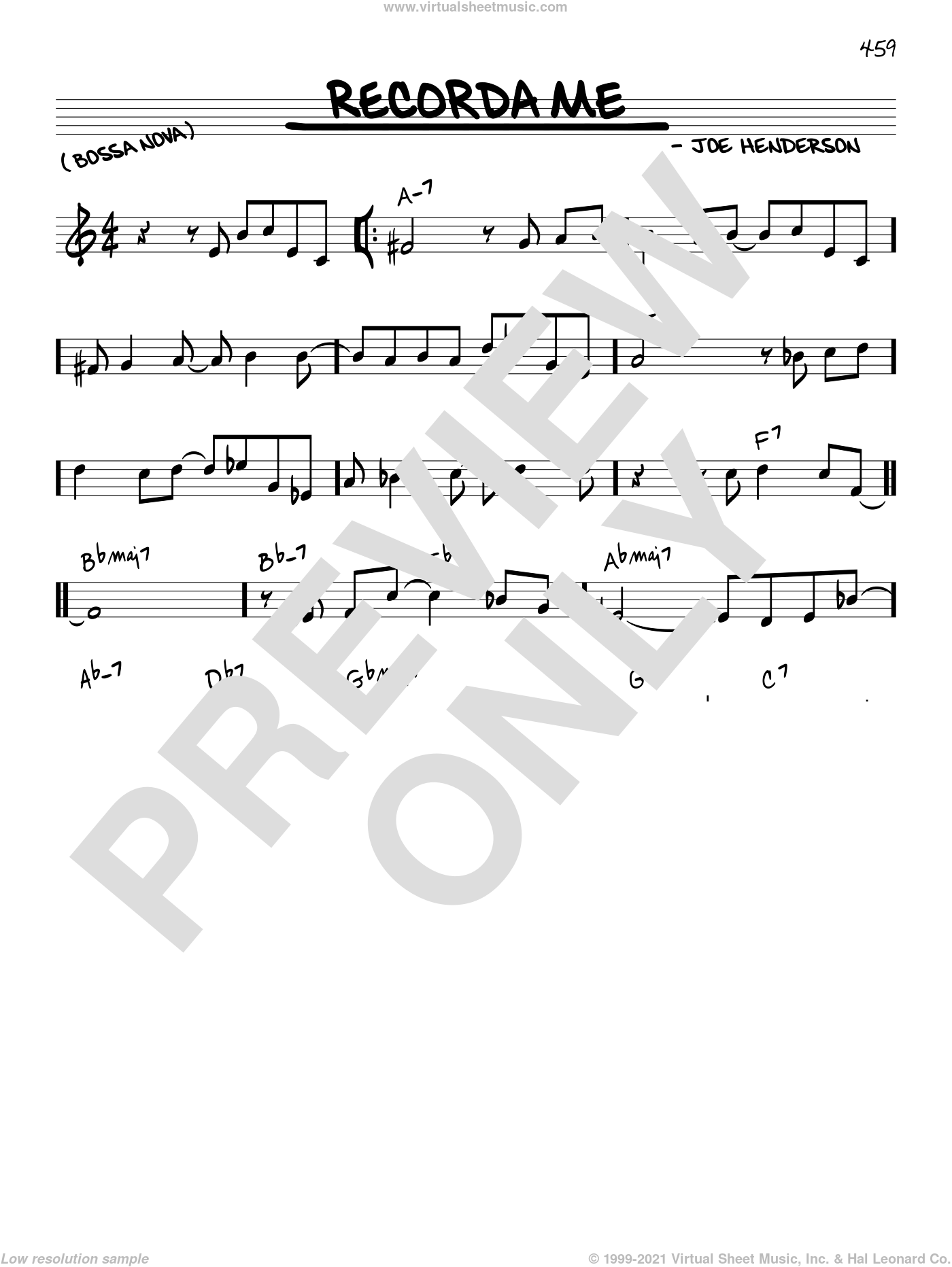 Recorda Me sheet music for voice and other instruments (C) by Joe Henderson