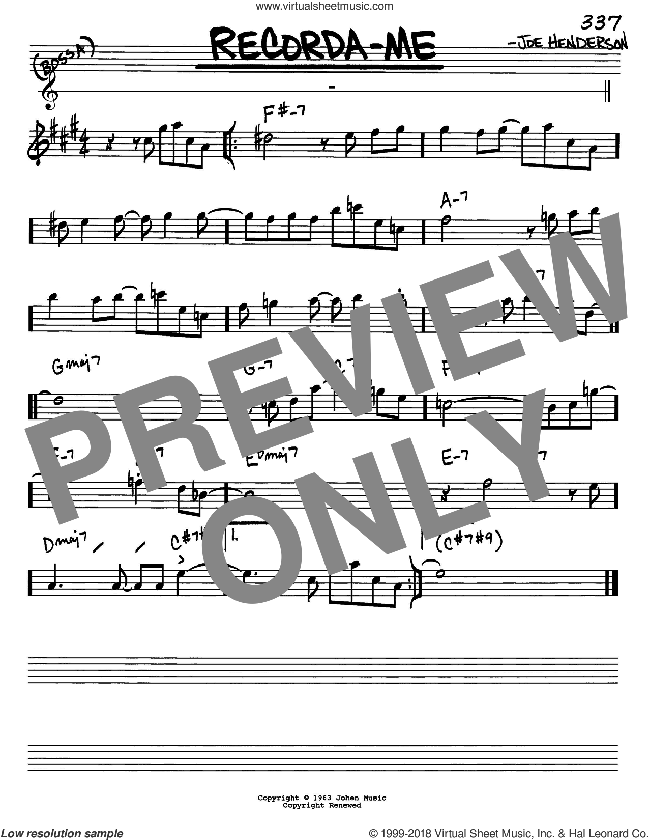 Recorda Me sheet music for voice and other instruments (Eb) by Joe Henderson. Score Image Preview.
