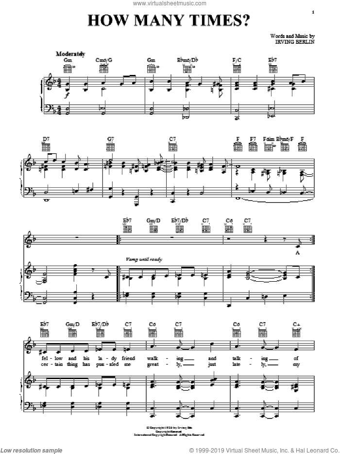 How Many Times? sheet music for voice, piano or guitar by Irving Berlin, wedding score, intermediate skill level