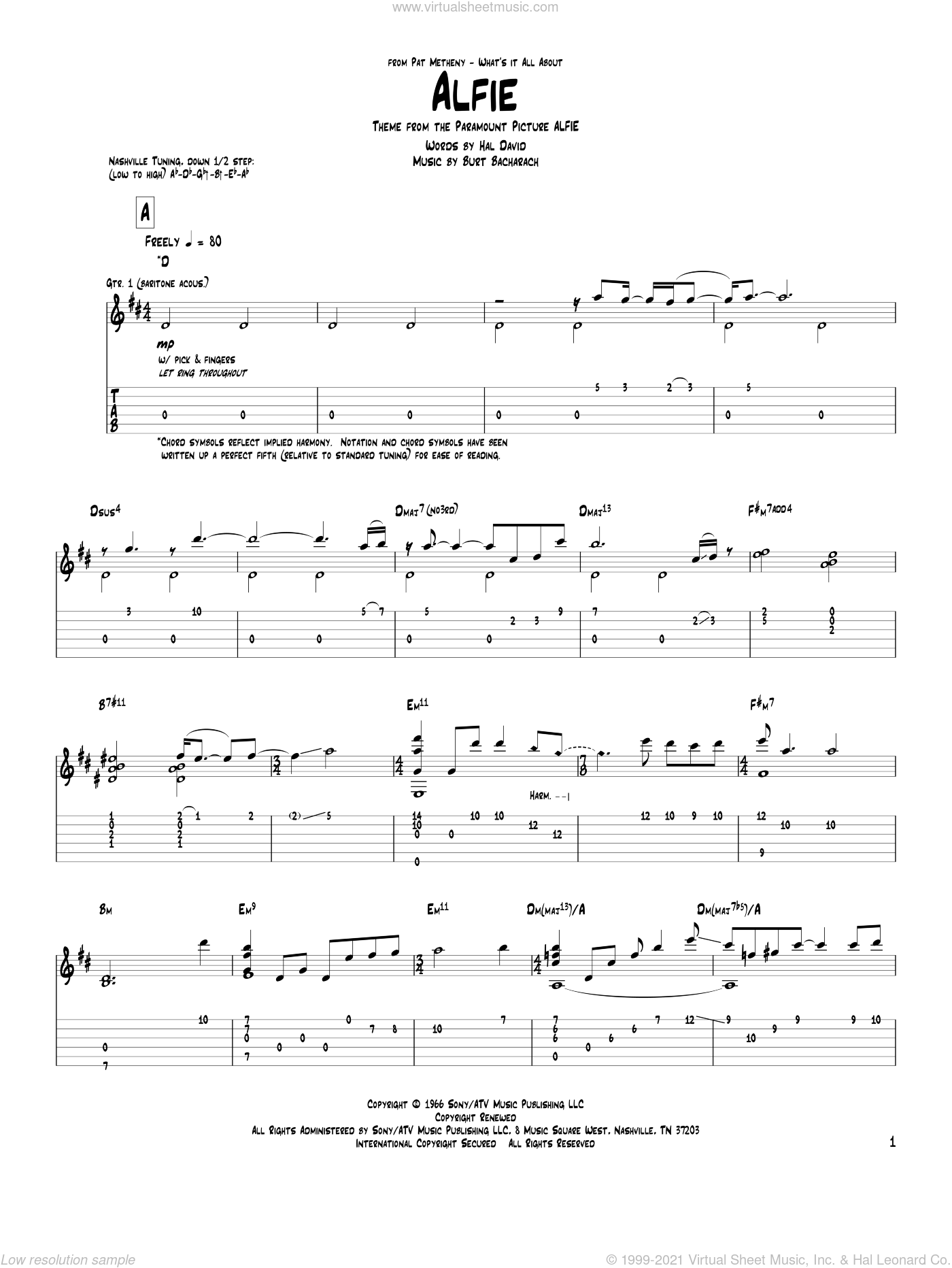 Alfie sheet music for guitar (tablature) by Pat Metheny