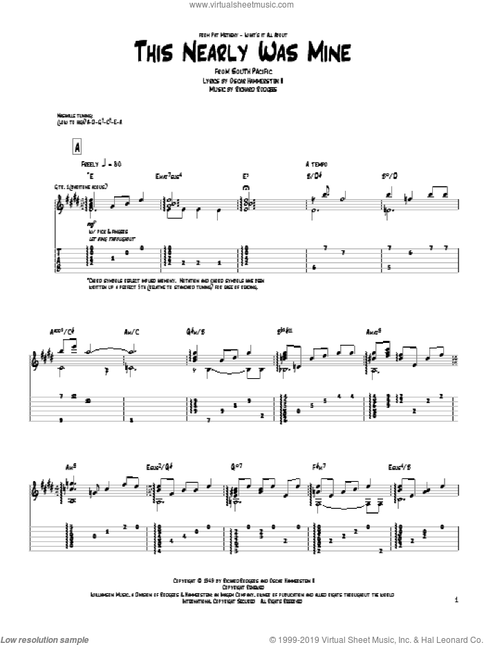 This Nearly Was Mine sheet music for guitar (tablature) by Pat Metheny and Rodgers & Hammerstein, intermediate guitar (tablature). Score Image Preview.