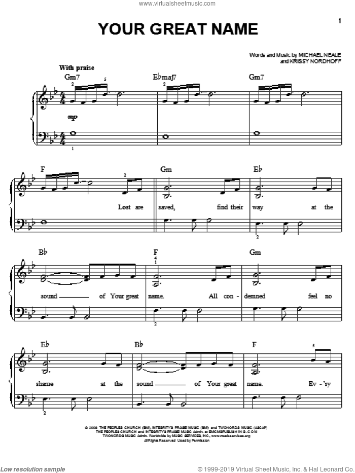 Your Great Name sheet music for piano solo by Natalie Grant, easy skill level