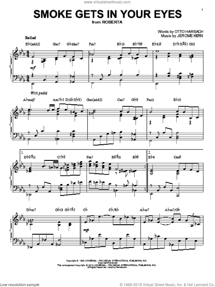 Smoke Gets In Your Eyes sheet music for piano solo by The Platters, Jerome Kern and Otto Harbach, intermediate. Score Image Preview.