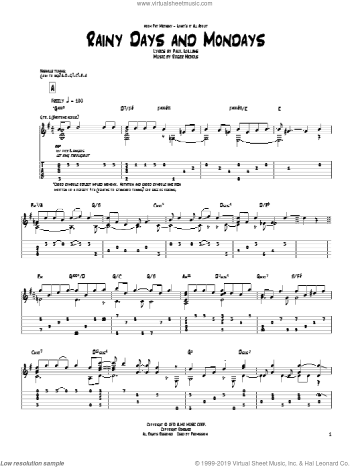 Rainy Days And Mondays sheet music for guitar (tablature) by Pat Metheny and Carpenters. Score Image Preview.