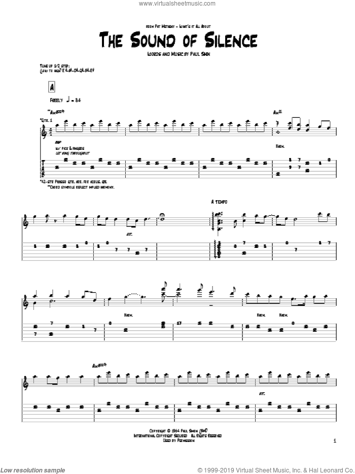 The Sound Of Silence sheet music for guitar (tablature) by Pat Metheny, Paul Simon and Simon & Garfunkel. Score Image Preview.