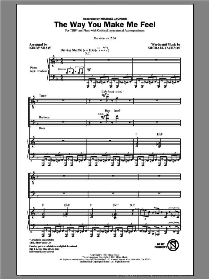 The Way You Make Me Feel sheet music for choir (TBB: tenor, bass) by Kirby Shaw and Michael Jackson, intermediate skill level