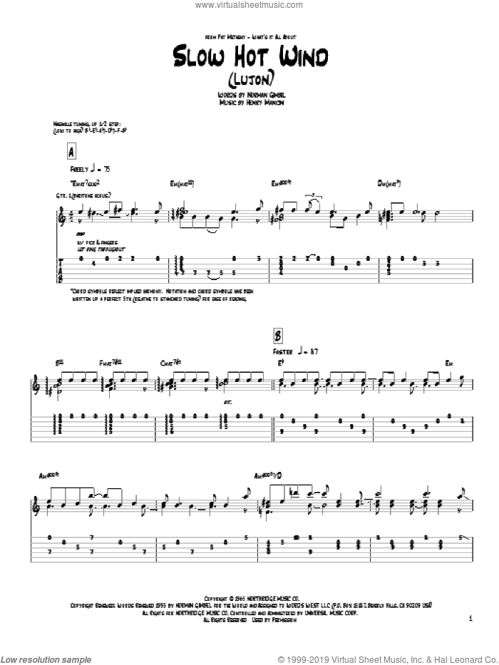 Slow Hot Wind (Lujon) sheet music for guitar (tablature) by Pat Metheny, Henry Mancini and Norman Gimbel, intermediate guitar (tablature). Score Image Preview.