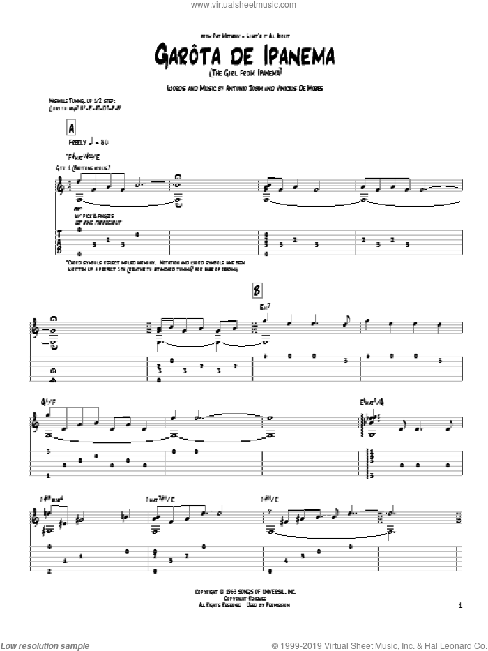 Garota De Ipanema sheet music for guitar (tablature) by Pat Metheny. Score Image Preview.