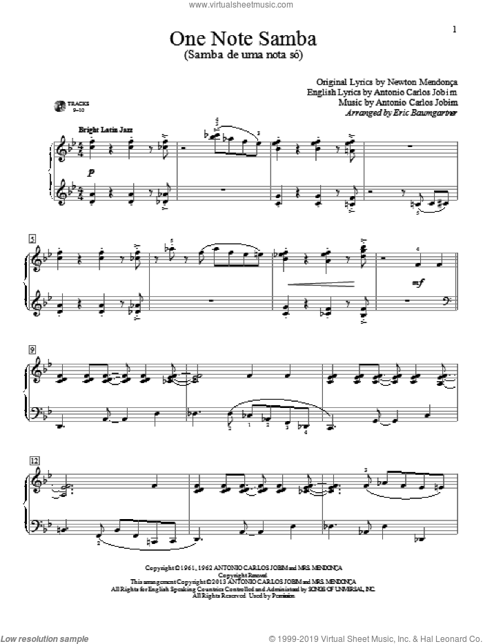 One Note Samba (Samba De Uma Nota So) sheet music for piano solo (elementary) by Eric Baumgartner, beginner piano (elementary). Score Image Preview.