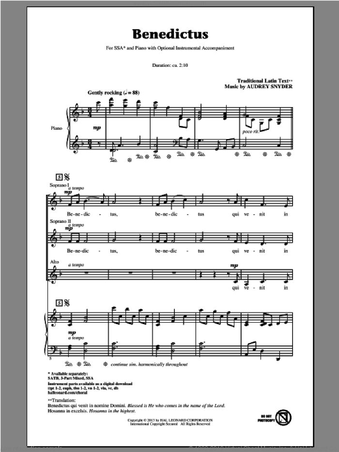 Benedictus sheet music for choir (soprano voice, alto voice, choir) by Audrey Snyder. Score Image Preview.