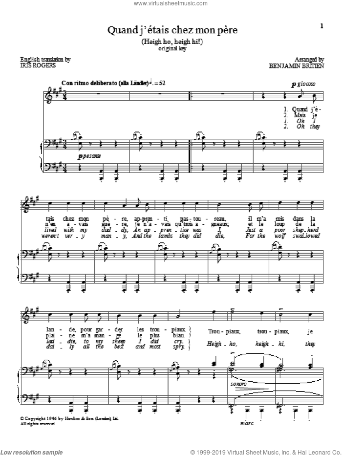 Quand j'etais chez mon pere sheet music for voice and piano (High Voice) by Benjamin Britten, classical score, intermediate skill level