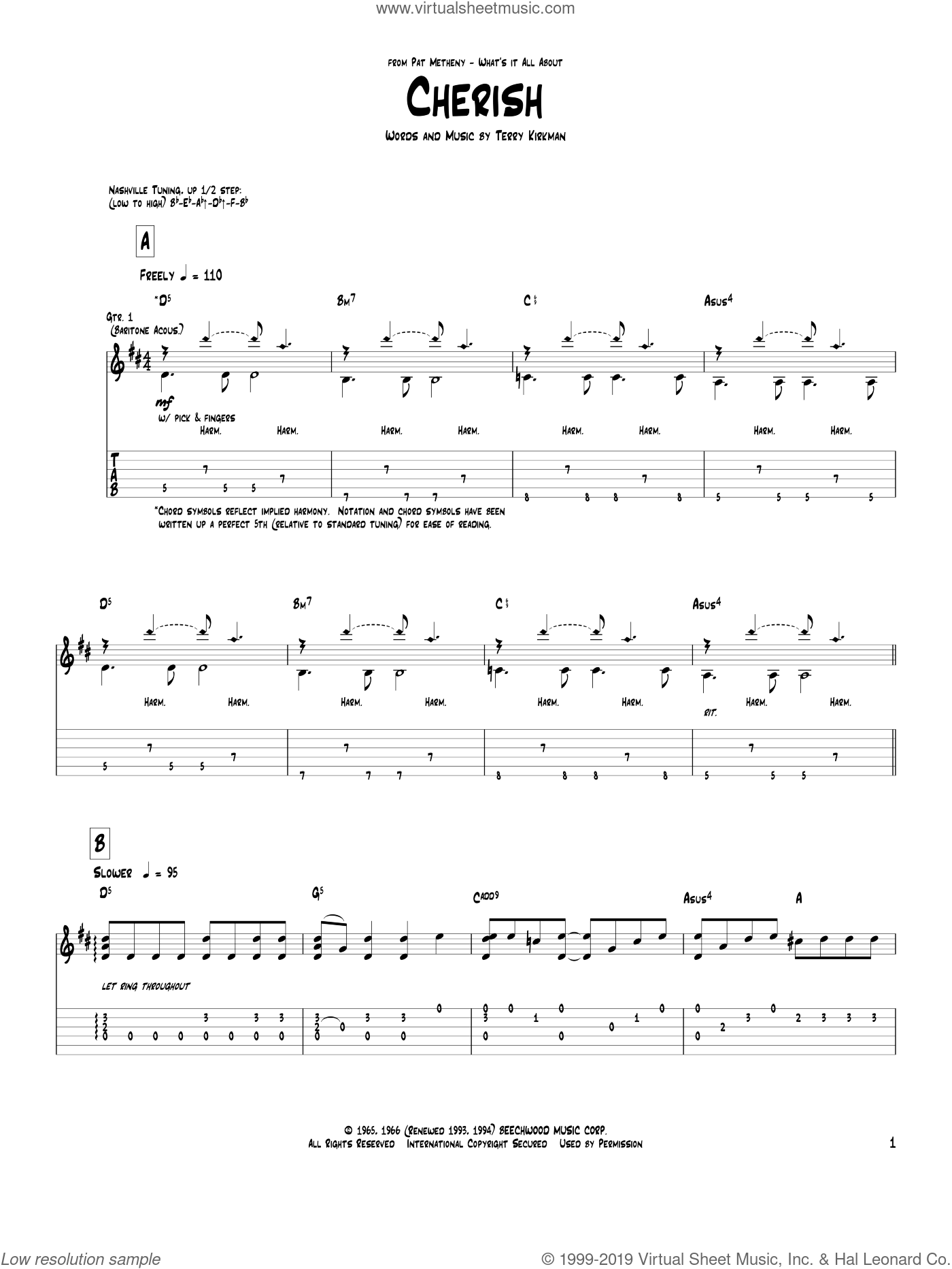 Cherish sheet music for guitar (tablature) by Pat Metheny, David Cassidy and The Association, intermediate guitar (tablature). Score Image Preview.