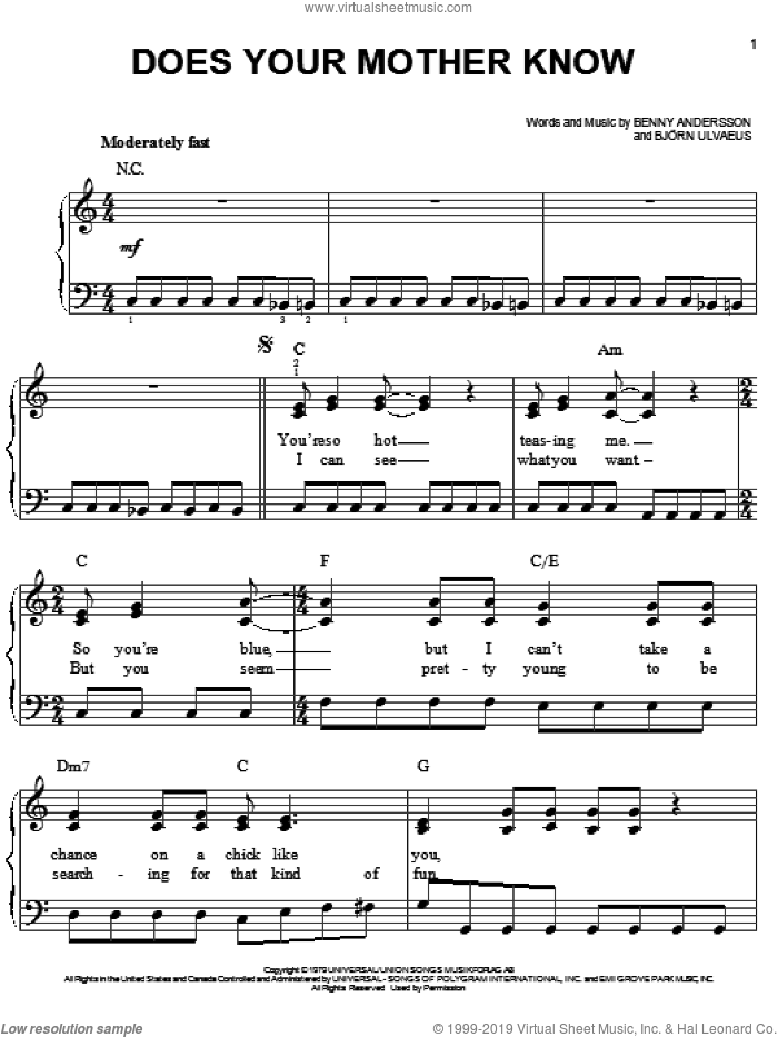 Does Your Mother Know sheet music for piano solo by ABBA, Mamma Mia! (Movie), Mamma Mia! (Musical), Benny Andersson and Bjorn Ulvaeus, easy skill level