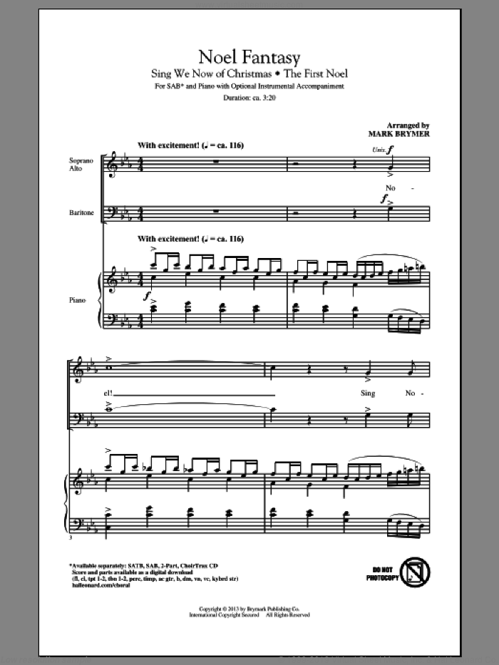 Noel Fantasy sheet music for choir and piano (SAB) by Mark Brymer. Score Image Preview.