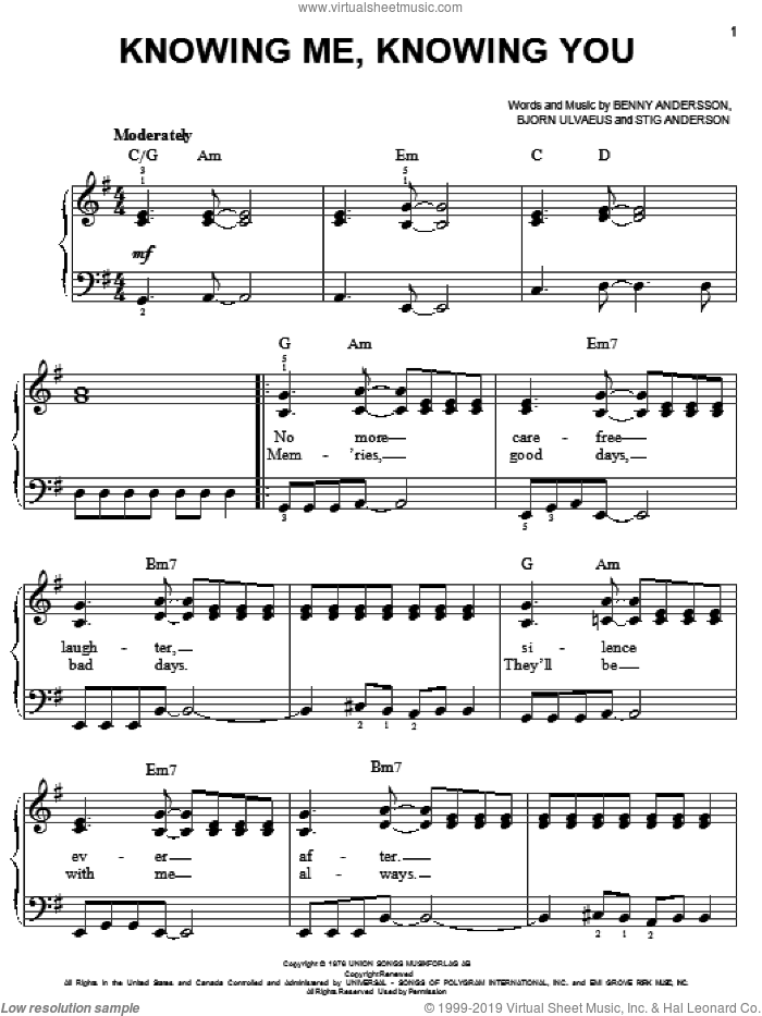 Knowing Me, Knowing You sheet music for piano solo by ABBA, Mamma Mia! (Musical), Benny Andersson, Bjorn Ulvaeus and Stig Anderson, easy skill level