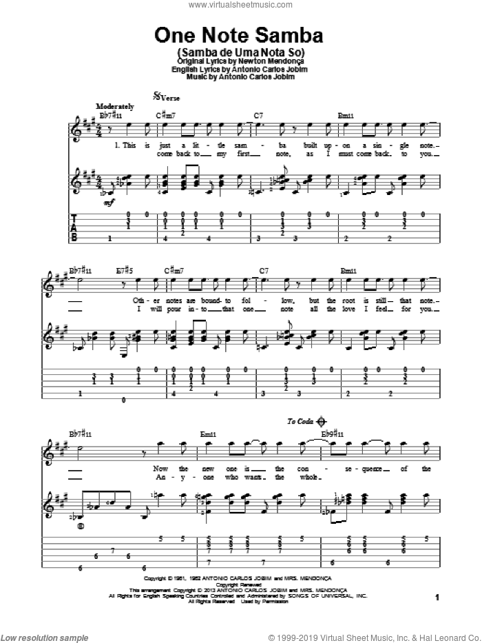 One Note Samba (Samba De Uma Nota So) sheet music for guitar solo by Antonio Carlos Jobim. Score Image Preview.