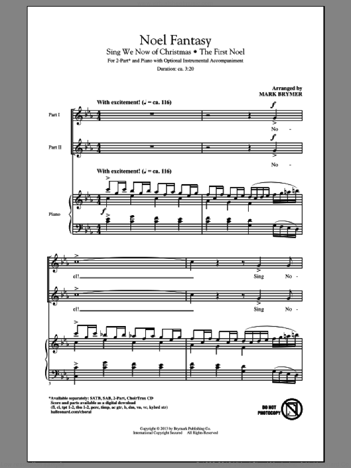Noel Fantasy sheet music for choir (2-Part) by Mark Brymer, intermediate duet. Score Image Preview.