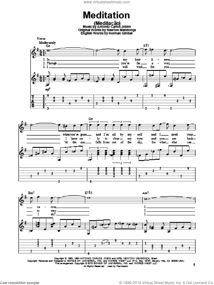 Meditation (Meditacao) sheet music for guitar solo by Antonio Carlos Jobim