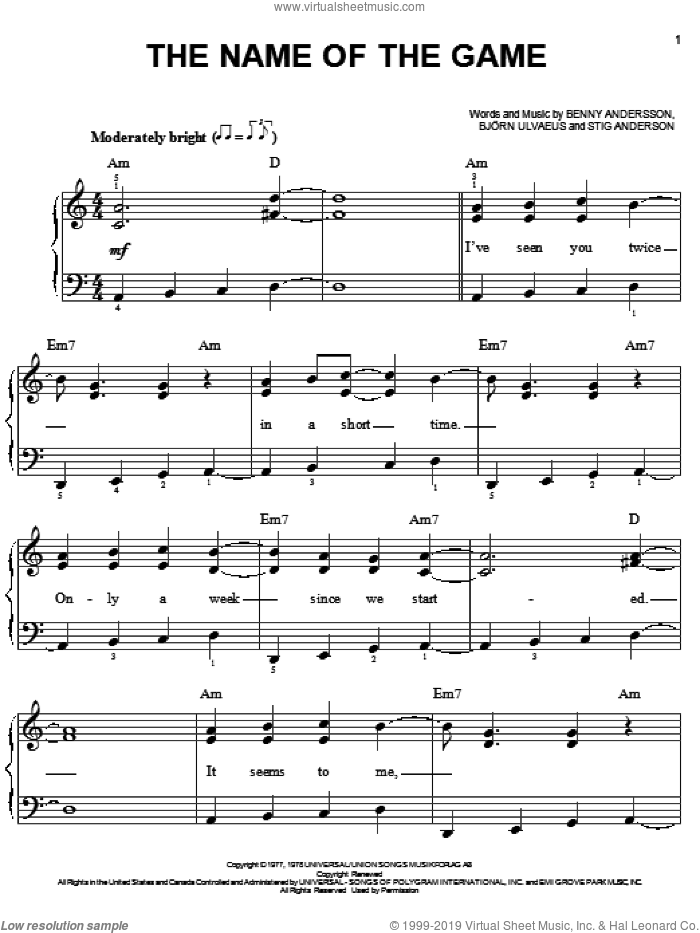 The Name Of The Game sheet music for piano solo by ABBA, easy skill level