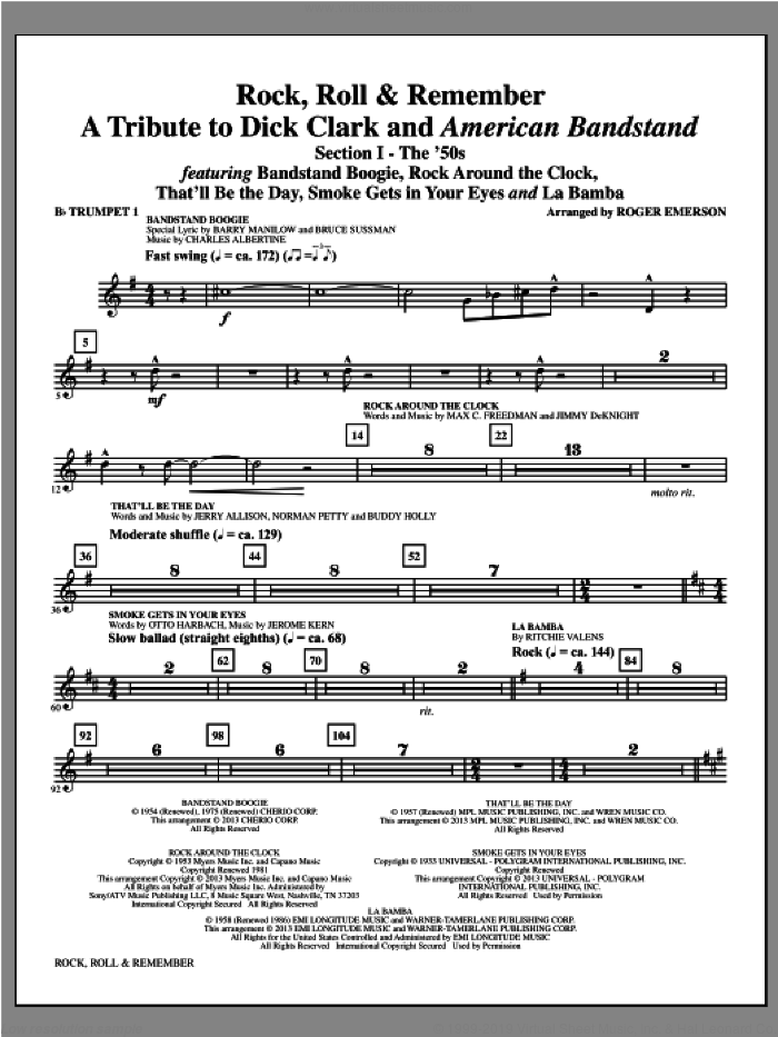 Rock, Roll and Remember (complete set of parts) sheet music for orchestra/band by Roger Emerson, intermediate. Score Image Preview.
