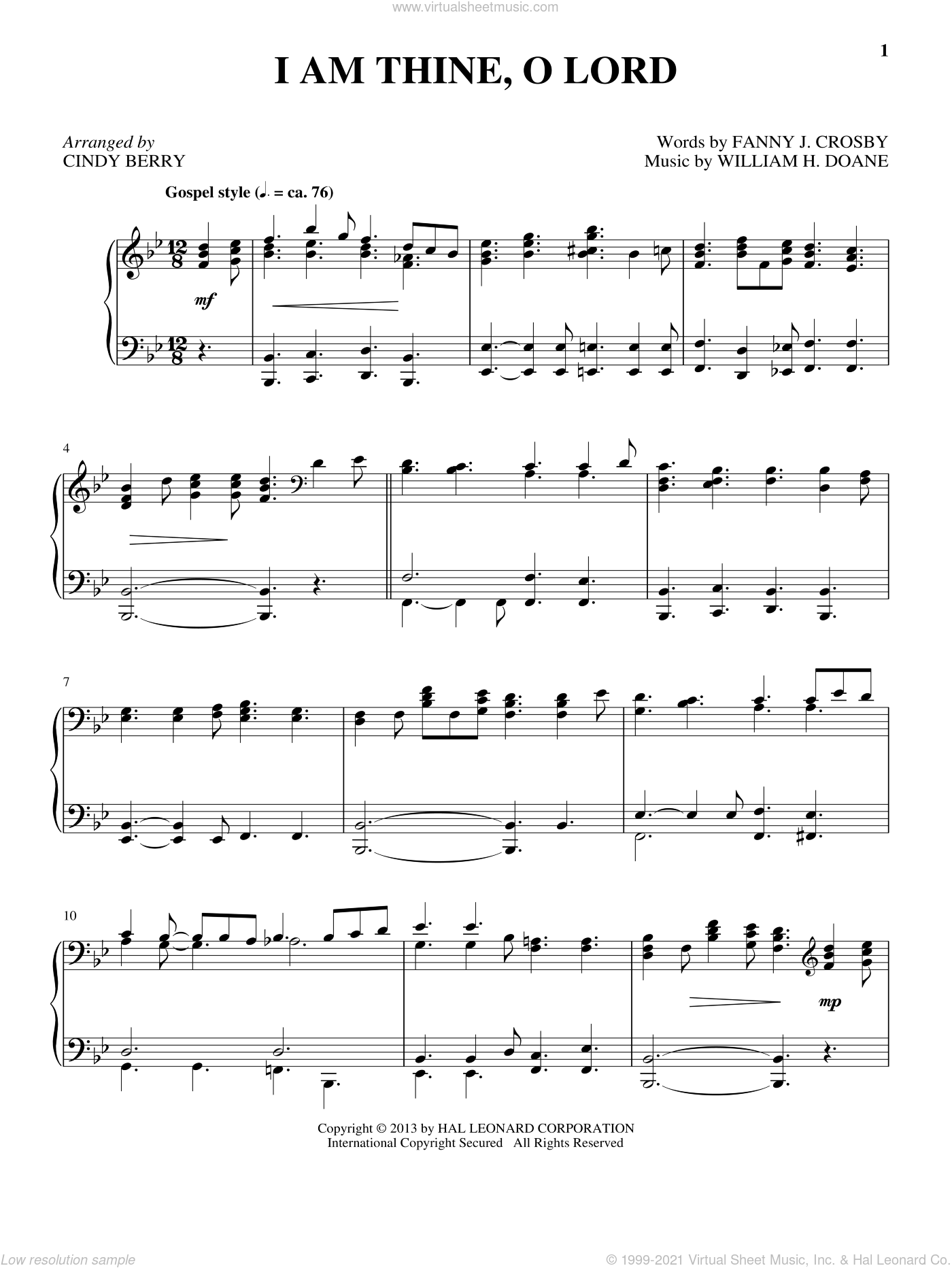 I Am Thine, O Lord sheet music for piano solo by Cindy Berry, intermediate. Score Image Preview.