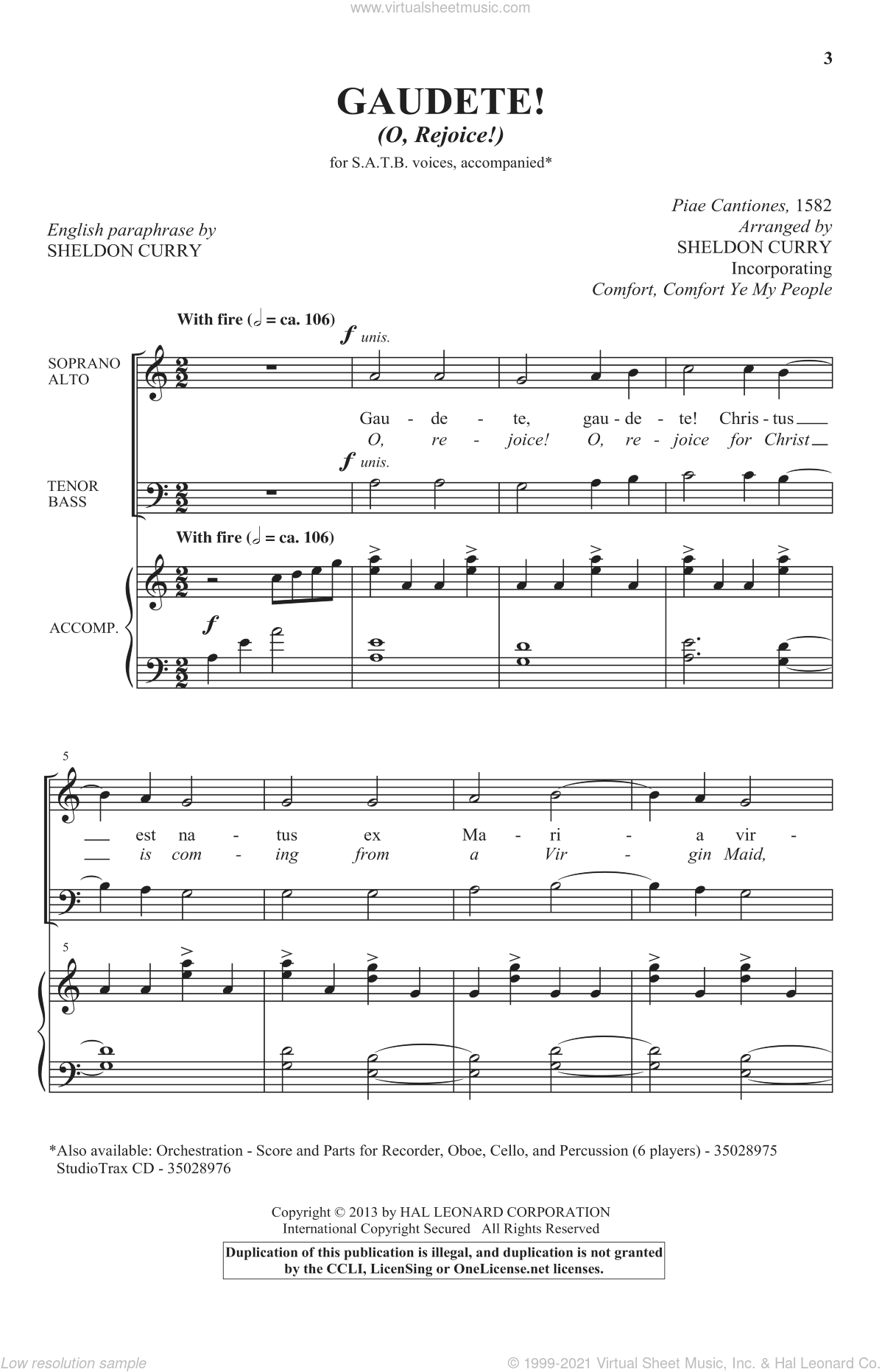 Gaudete! (O, Rejoice!) sheet music for choir (SATB) by Sheldon Curry. Score Image Preview.