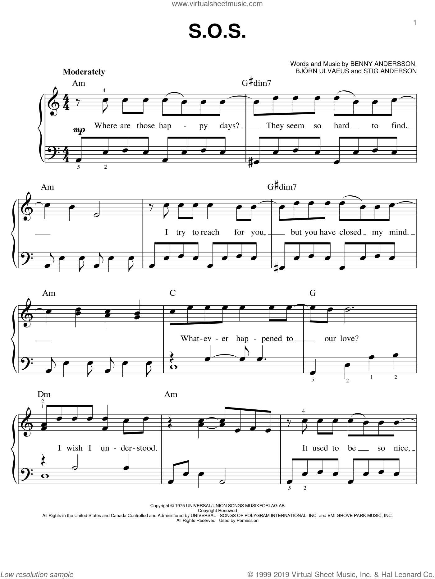 S.O.S. sheet music for piano solo by ABBA, Mamma Mia! (Movie), Mamma Mia! (Musical), Benny Andersson, Bjorn Ulvaeus and Stig Anderson, easy skill level