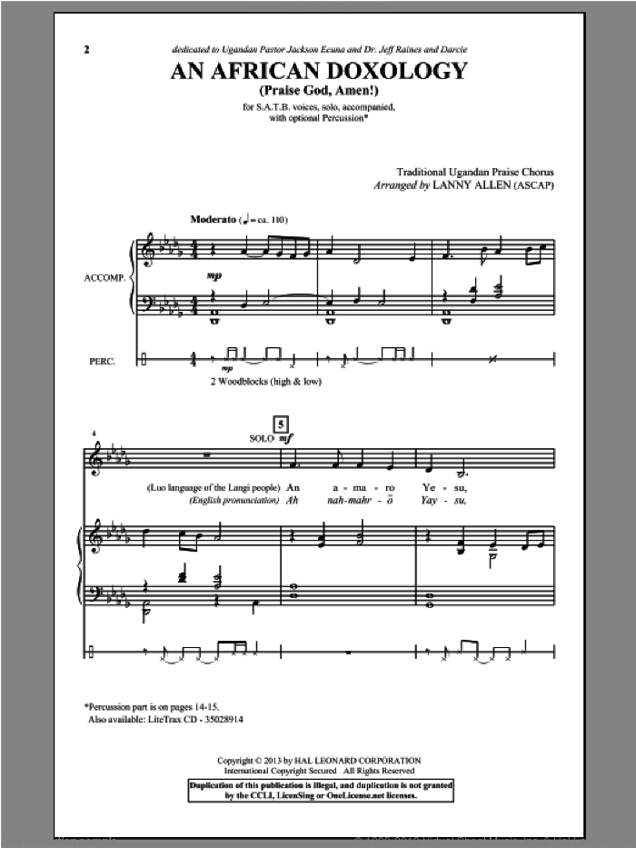An African Doxology sheet music for choir and piano (SATB) by Lanny Allen. Score Image Preview.