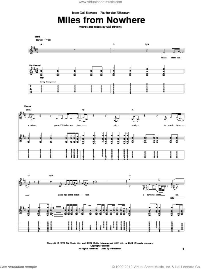 Miles From Nowhere sheet music for guitar (tablature) by Cat Stevens