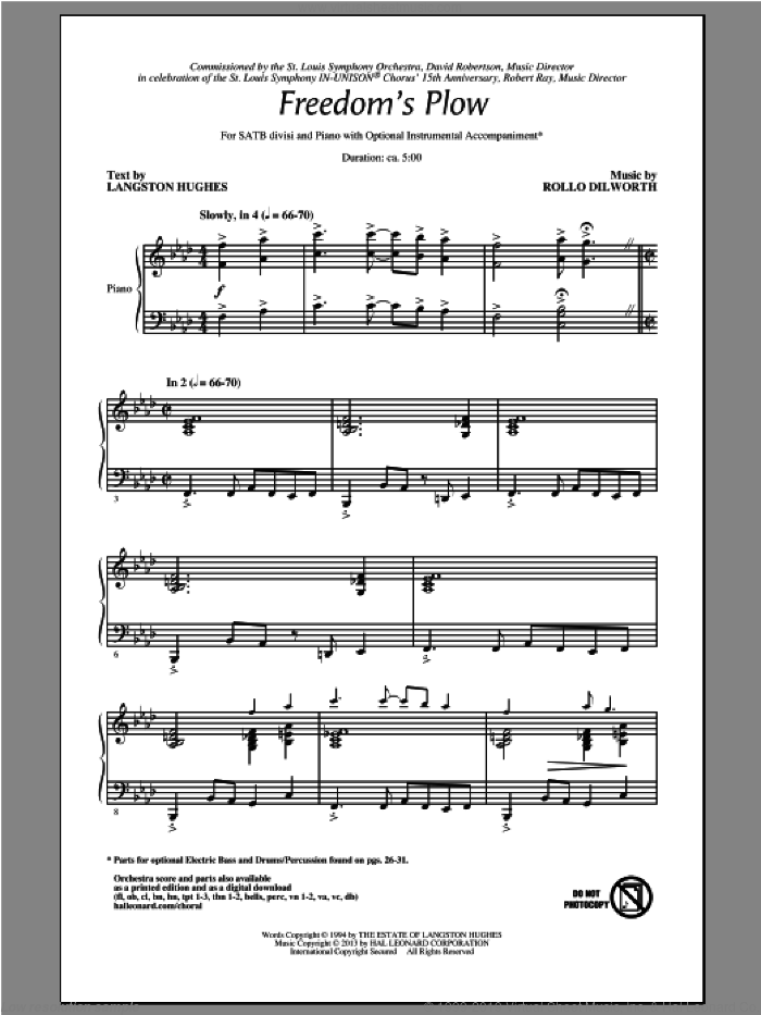 Freedom's Plow sheet music for choir (SATB) by Rollo Dilworth. Score Image Preview.