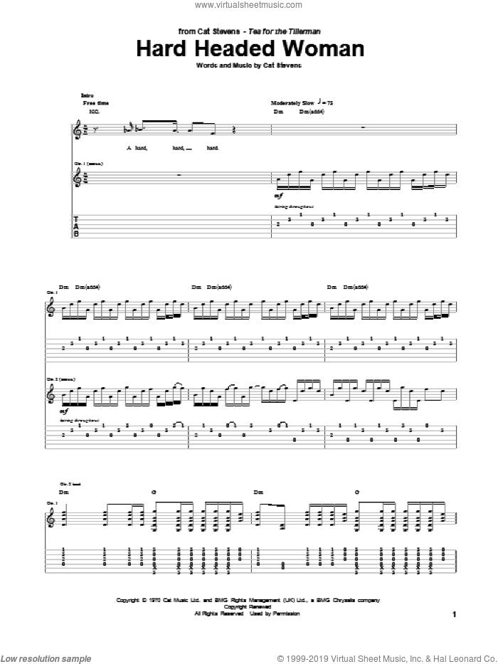 Hard Headed Woman sheet music for guitar (tablature) by Cat Stevens. Score Image Preview.
