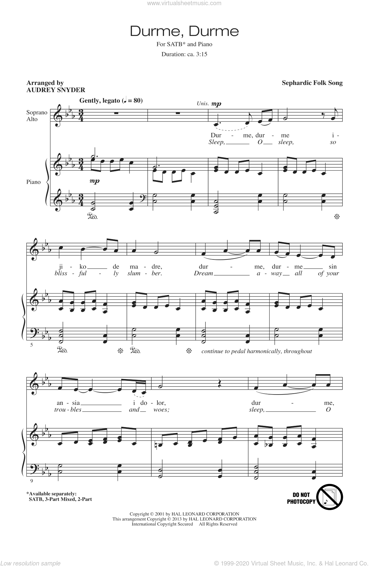 Durme, Durme sheet music for choir (SATB: soprano, alto, tenor, bass) by Audrey Snyder, intermediate