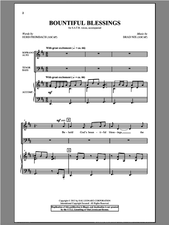 Bountiful Blessings sheet music for choir (SATB) by Brad Nix and Herb Frombach, intermediate. Score Image Preview.