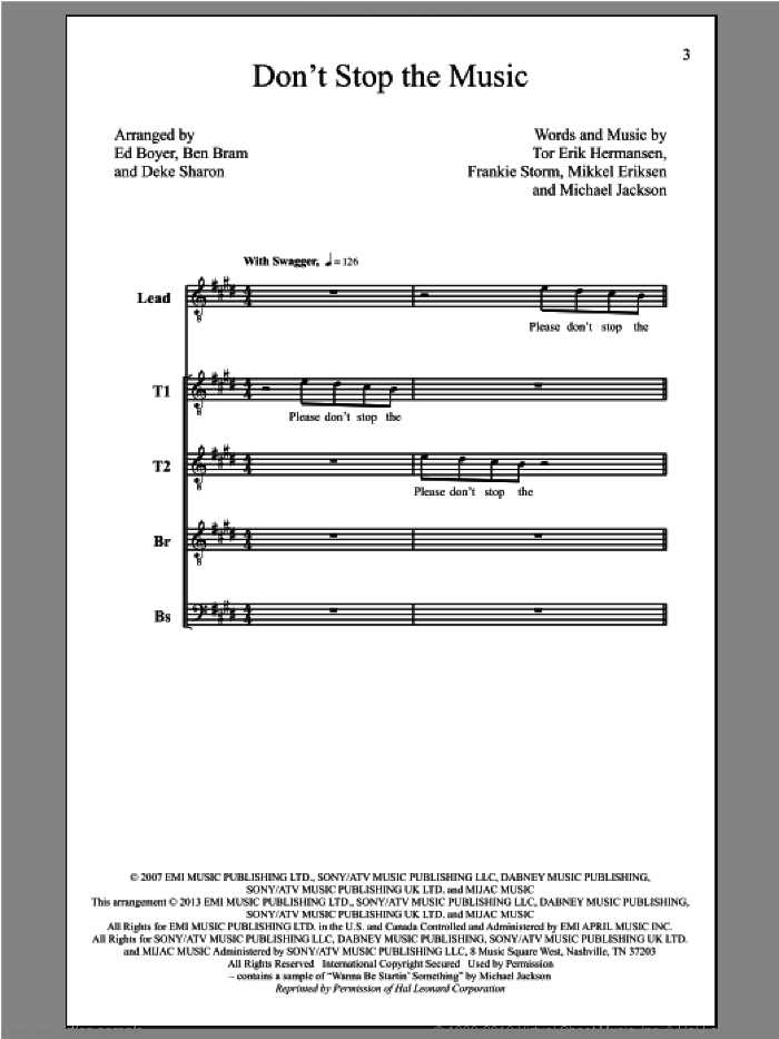 Don't Stop The Music sheet music for choir (tenor voice, bass voice, choir) by Deke Sharon. Score Image Preview.