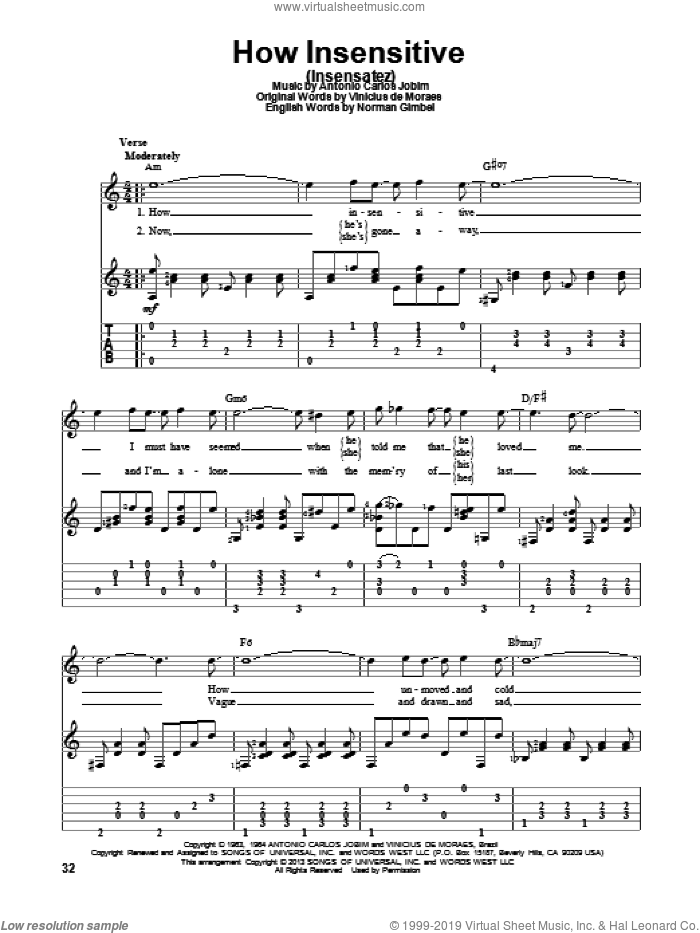 How Insensitive (Insensatez) sheet music for guitar solo by Antonio Carlos Jobim and Astrud Gilberto, intermediate skill level