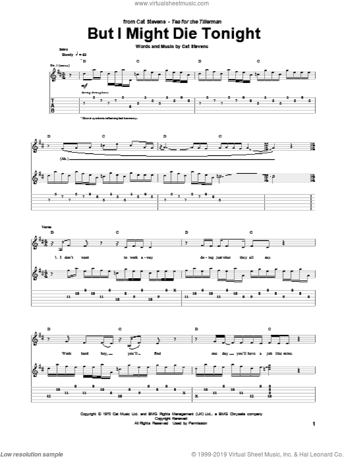 But I Might Die Tonight sheet music for guitar (tablature) by Cat Stevens, intermediate
