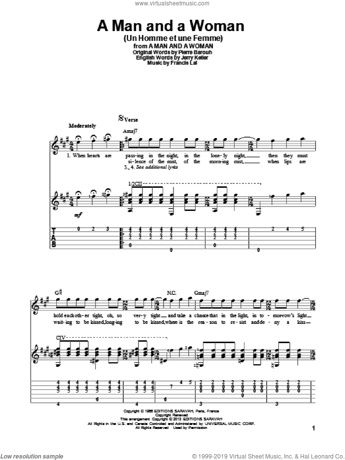 A Man And A Woman (Un Homme Et Une Femme) sheet music for guitar solo by Herbie Mann and Tamiko Jones. Score Image Preview.